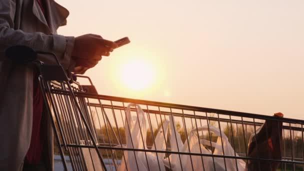 Žena zkontrolovat jejich nákupy v vozíku se seznamem na smartphonu.