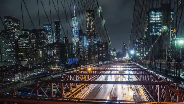 Rain in New York, traffic cars on the famous Brooklyn Bridge
