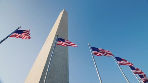 American flags and the Washington Monument