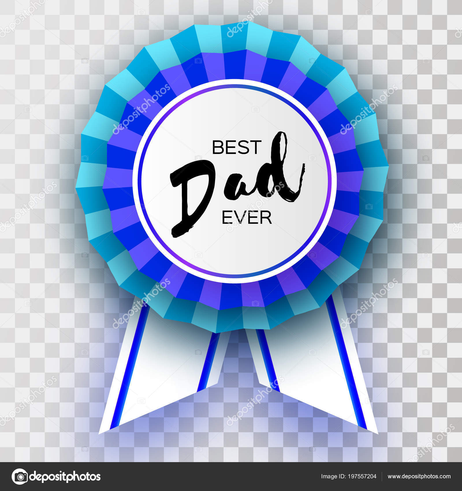 Blue Happy Fathers Day Greetings Card Best Dad Ever Badge Stock