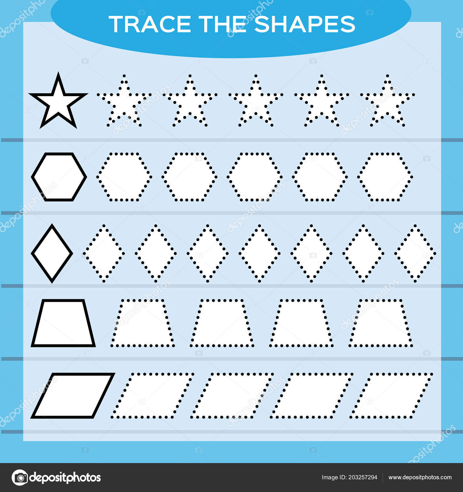 Trace Shapes Kids Education Preschool Worksheet Basic Writing Kids ...