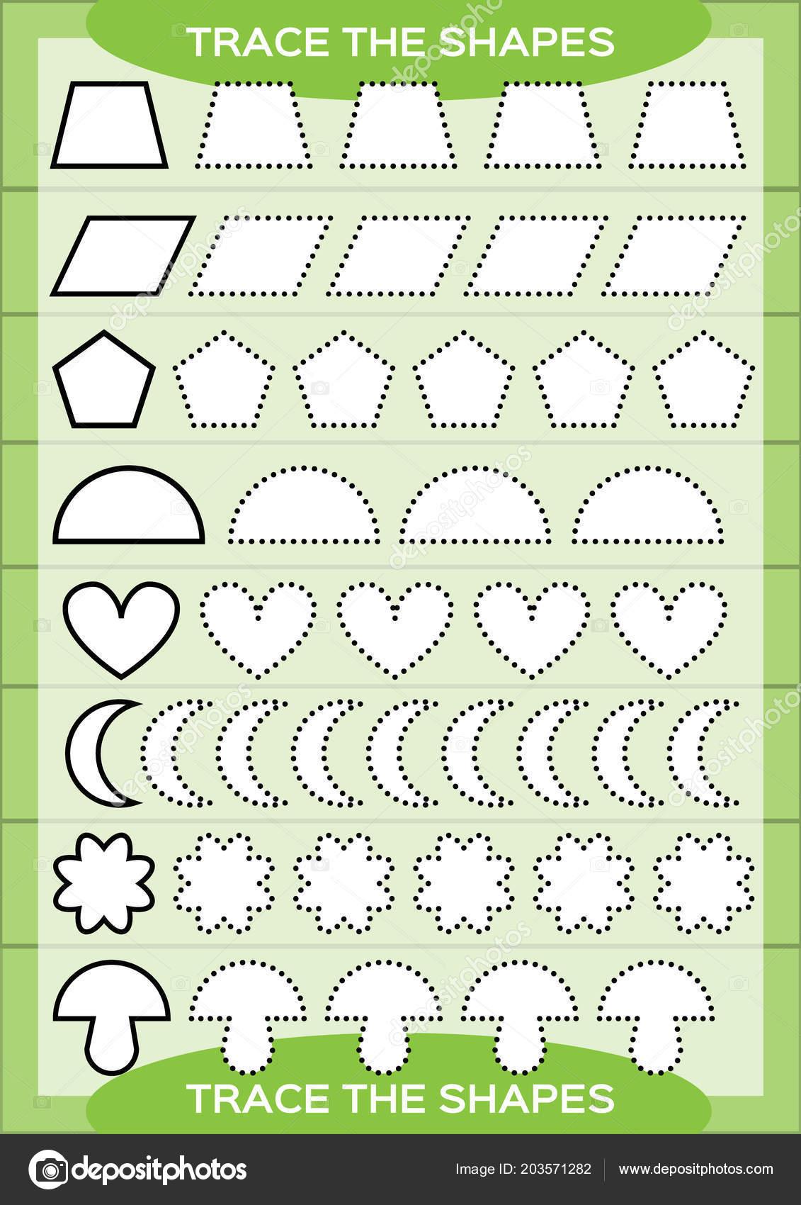 Trace Shapes Kids Education Preschool Worksheet Basic Writing Kids