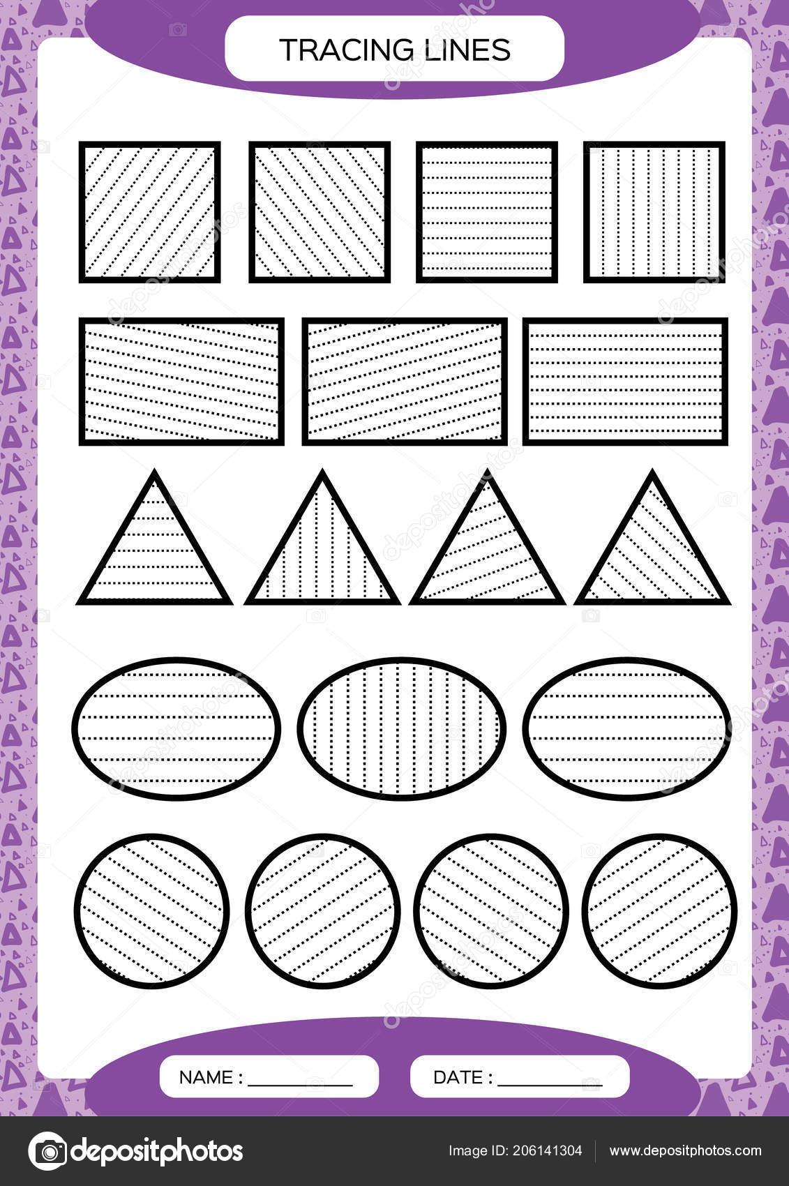 Tracing Lines Kids Education Preschool Worksheet Basic Writing Kids ...