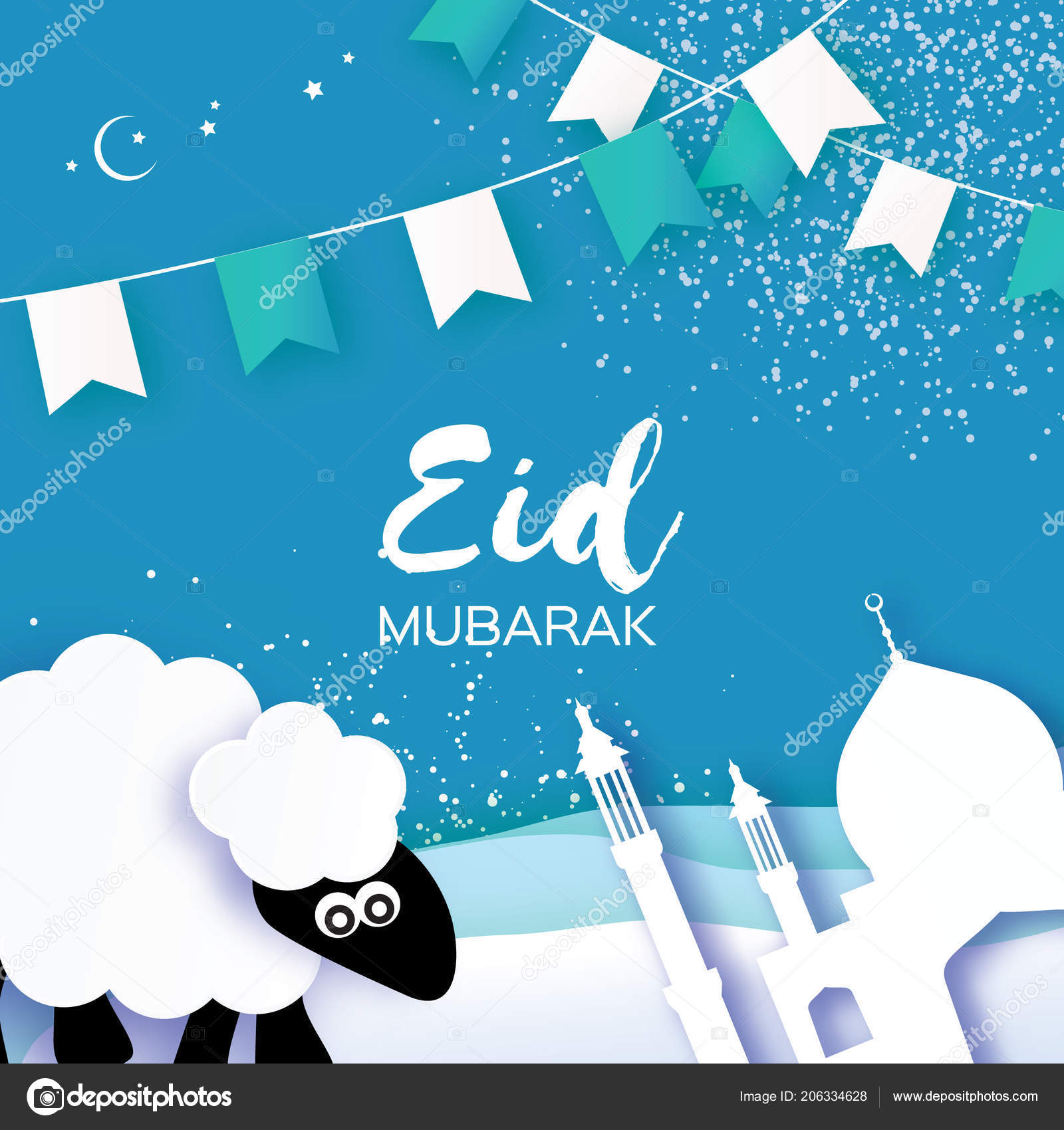 Eid Adha Greeting Card Design Paper Cut Cute Baby Sheep Stock
