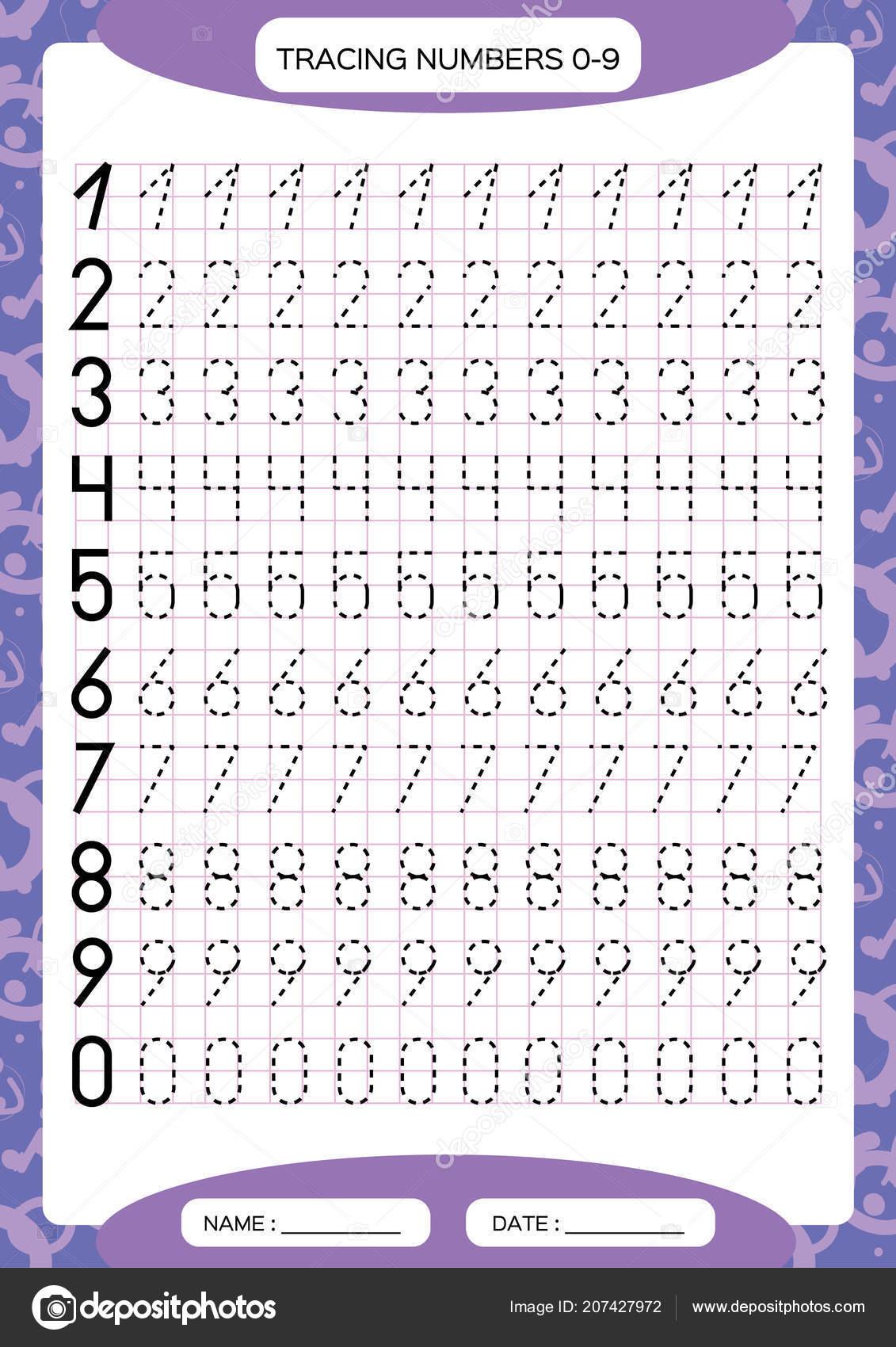 Numbers Tracing Worksheet Kids Preschool Worksheet Practicing Motor
