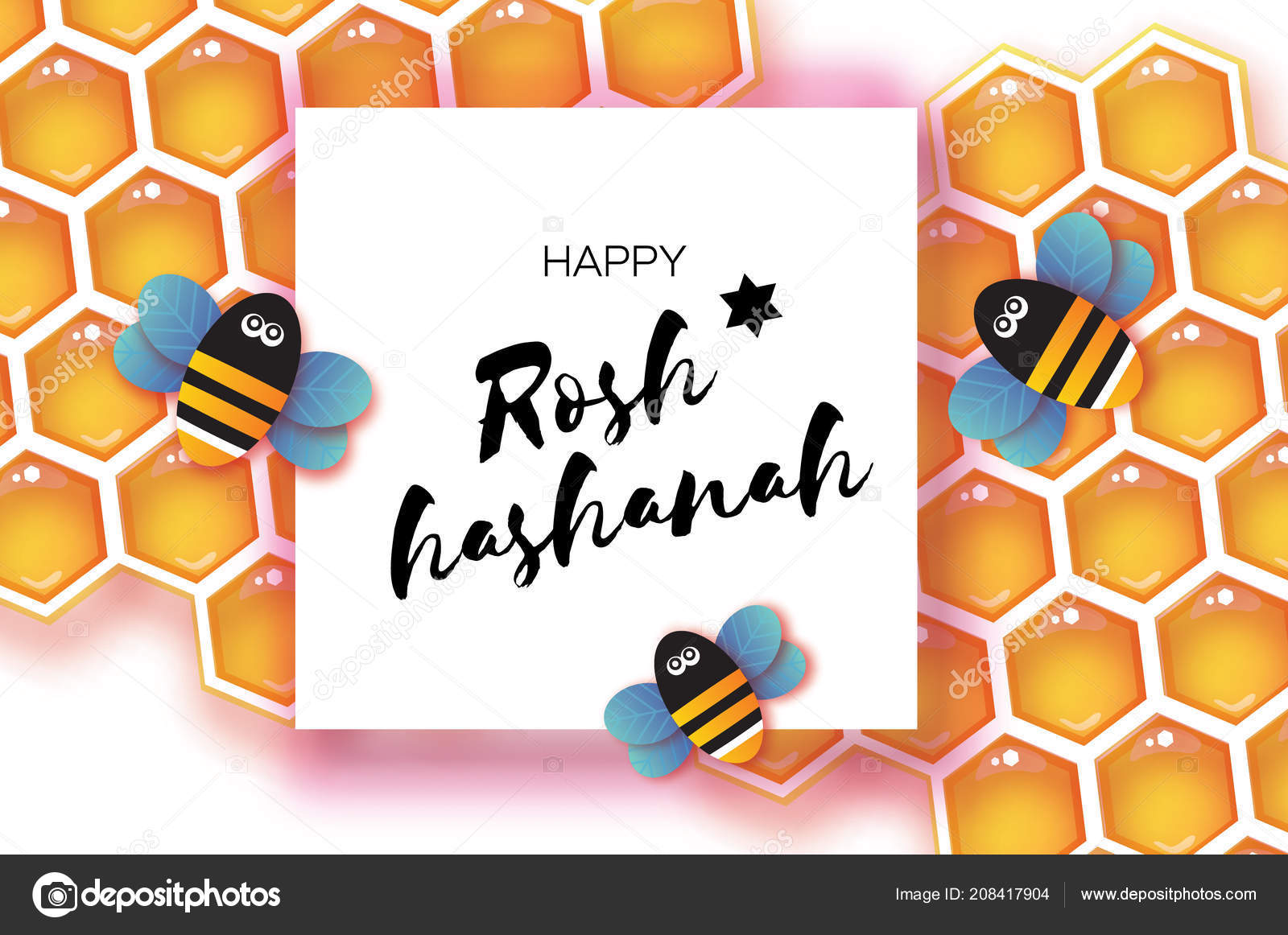 Origami Honey Gold Cell And Bee In Paper Cut Style Happy Holiday Hebrew Square Frame For Text White Background Vector By Mash3r
