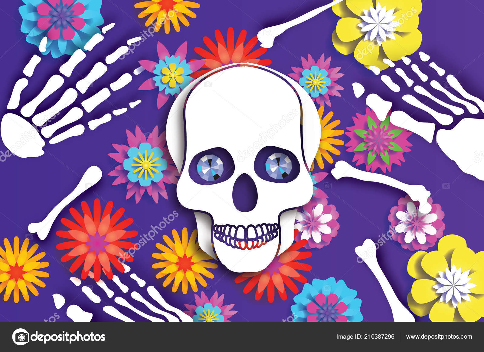Day Dead Paper Cut Skull Mexican Celebration Traditional Mexico