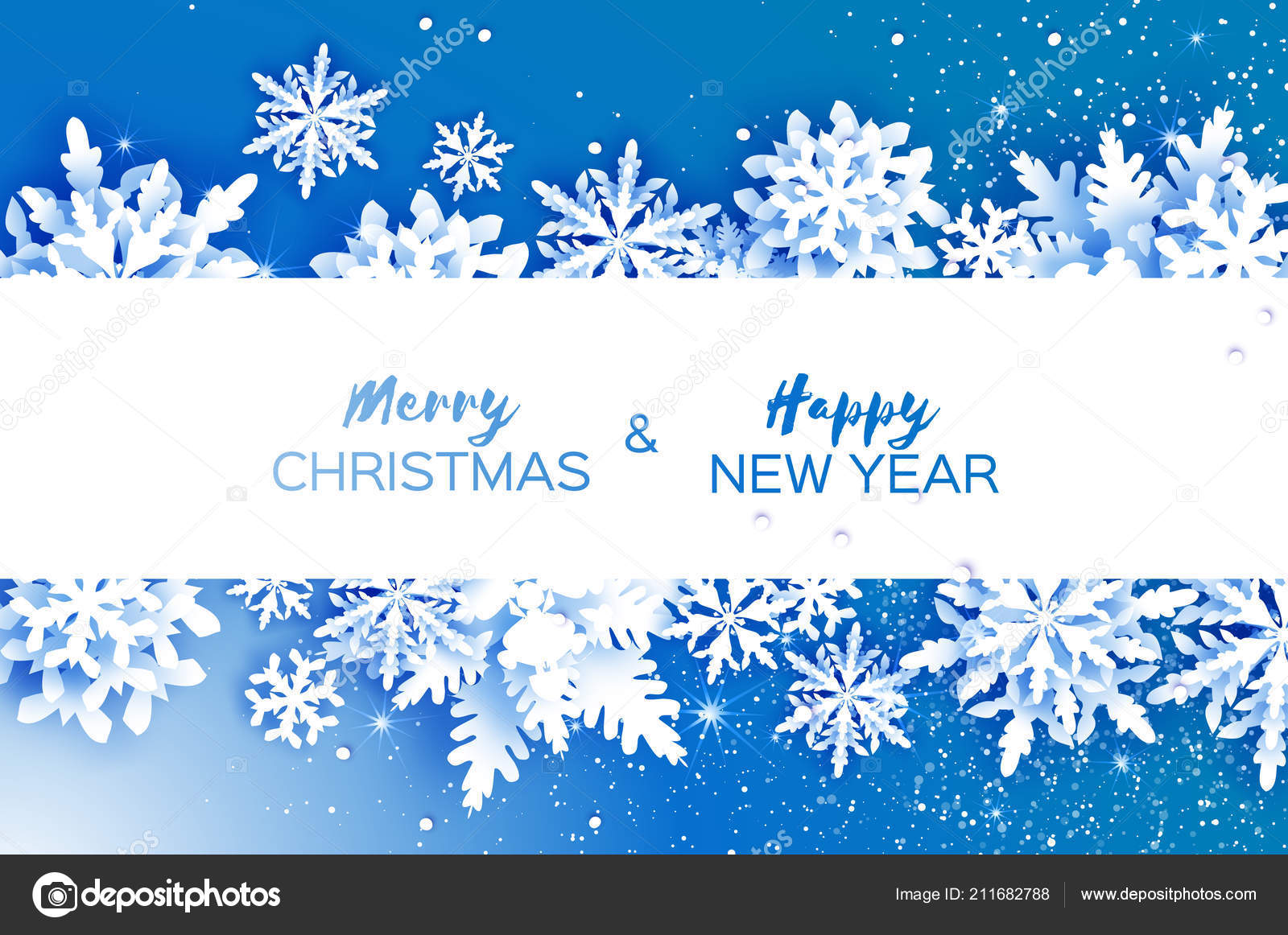 merry christmas happy new year greetings card white paper cut stock vector