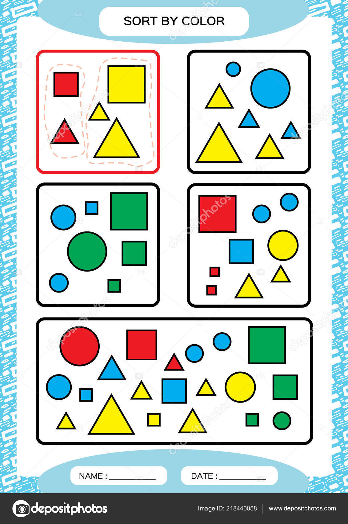 Sort Color Sorting Game Group Color Green Red Yellow Blue Stock
