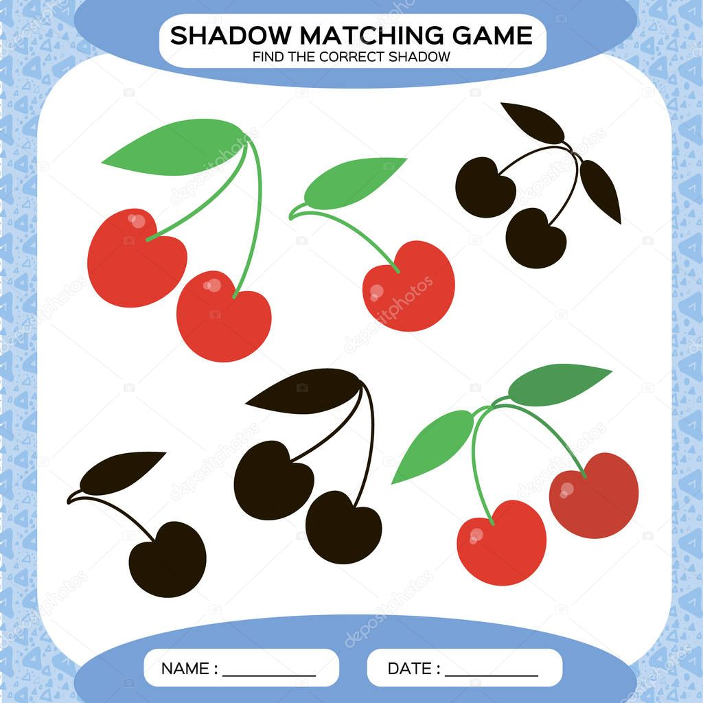 Shadow matching game. Find the correct shadows. Activity page for kids. Kindergarten worksheets by matching colorful pictures to their black shadows. Cherry berry. Blue. Vector