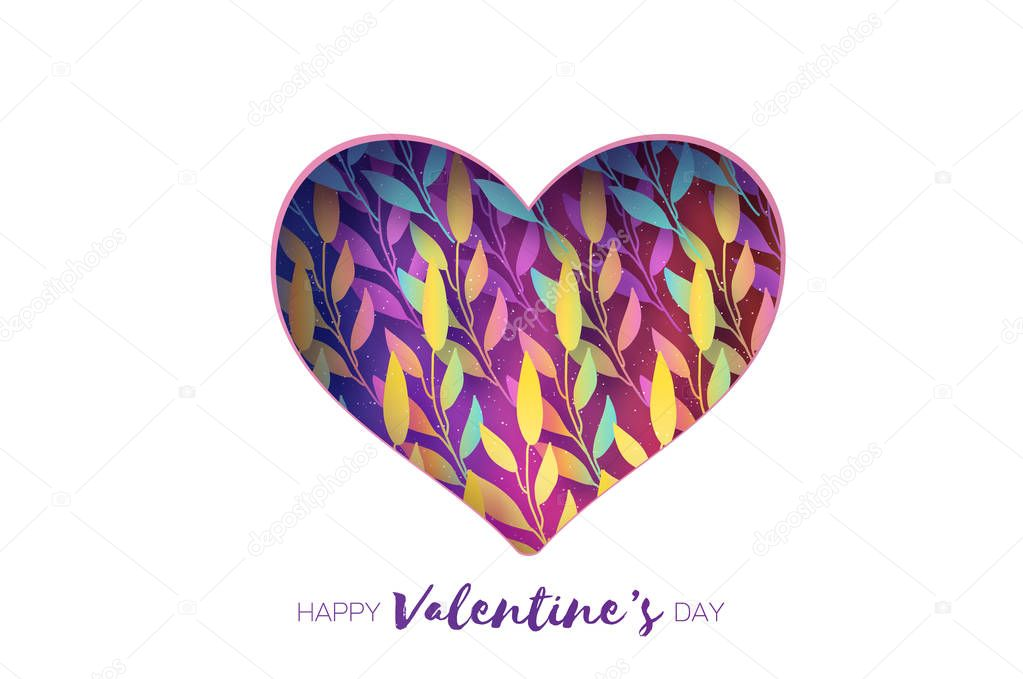 Heart frame. Valentines day Greetings card. Realistic Paper cut white flowers and leaves. Colorful Floral bouquet.