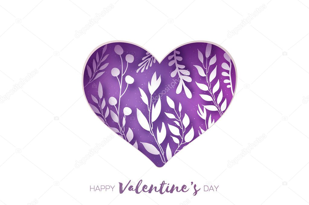 Heart frame. Valentines day Greetings card. Realistic Paper cut white flowers and leaves. Colorful Floral bouquet. Purple.