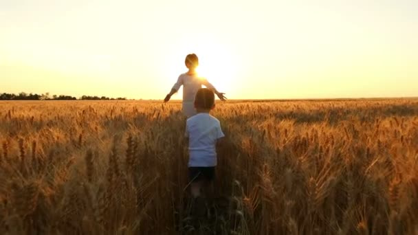 A child and his mother are running across a field of wheat towards sunset.