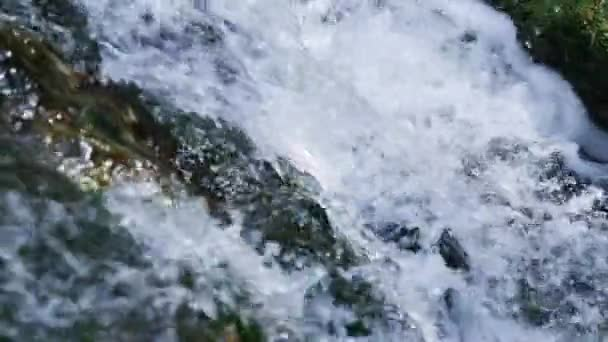 Natural waterfall close-up, in slow motion