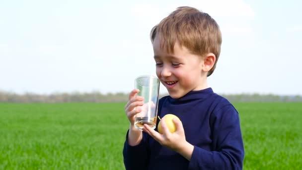 Das Kind hält einen grünen Apfel und ein Glas Apfelsaft in der Hand. Junge trinkt Saft auf Naturhintergrund und lacht.