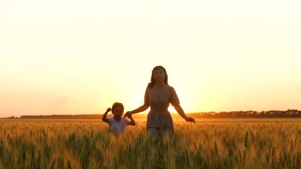 Mother and son run on the Golden wheat field, holding hands. The concept of motherhood, a happy family. Agriculture.