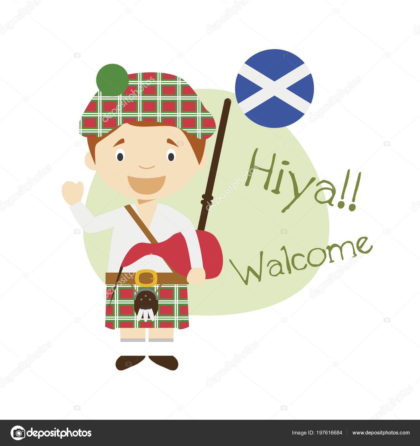vector illustration cartoon character saying hello welcome scottish