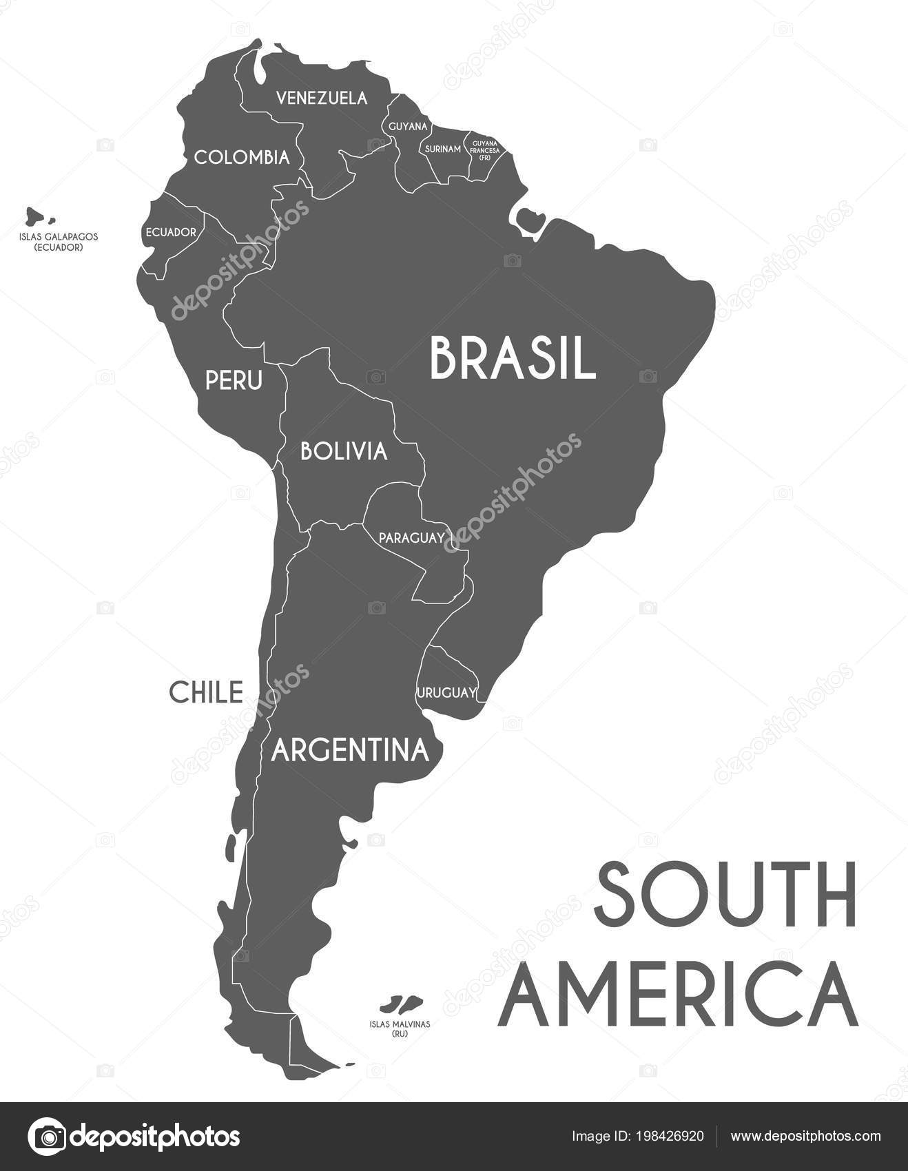 Political South America Map Vector Illustration Isolated ...
