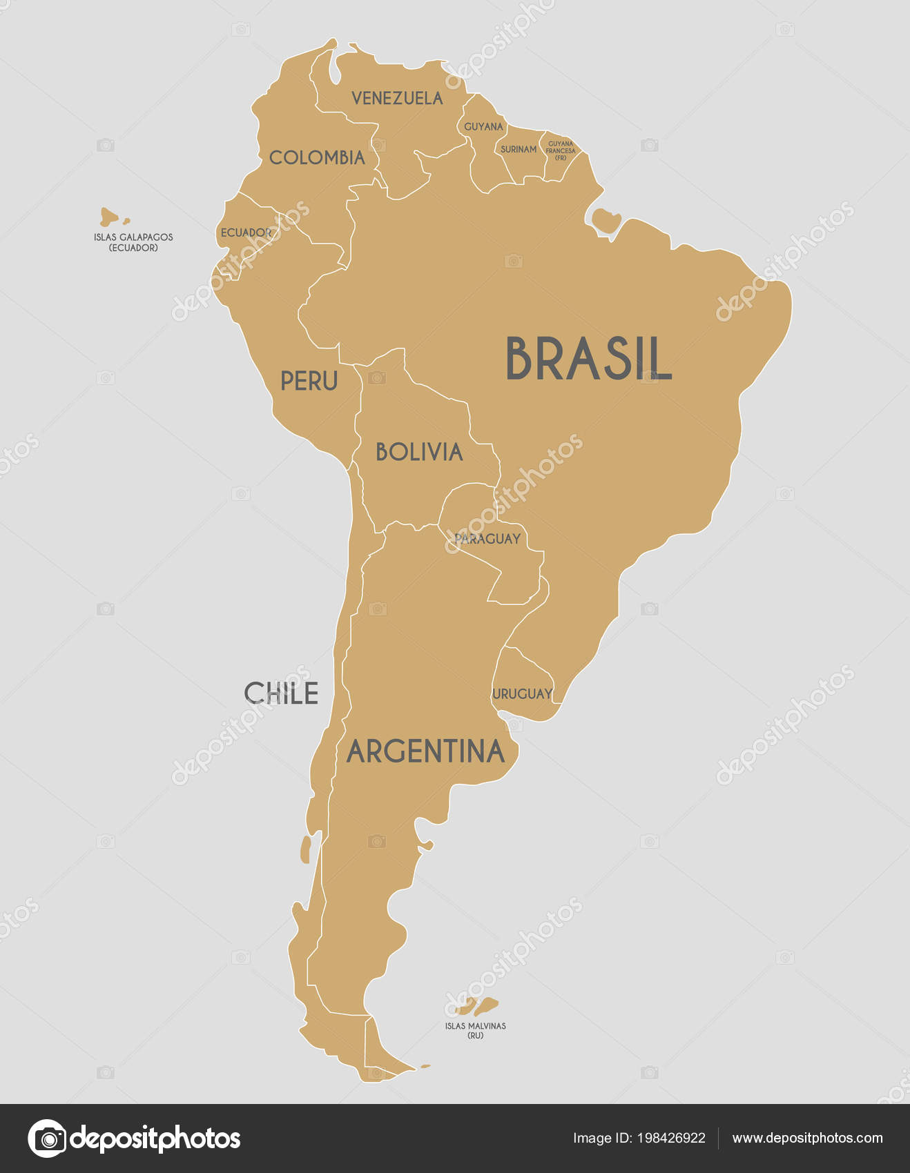 Political South America Map Vector Illustration Country Names ...