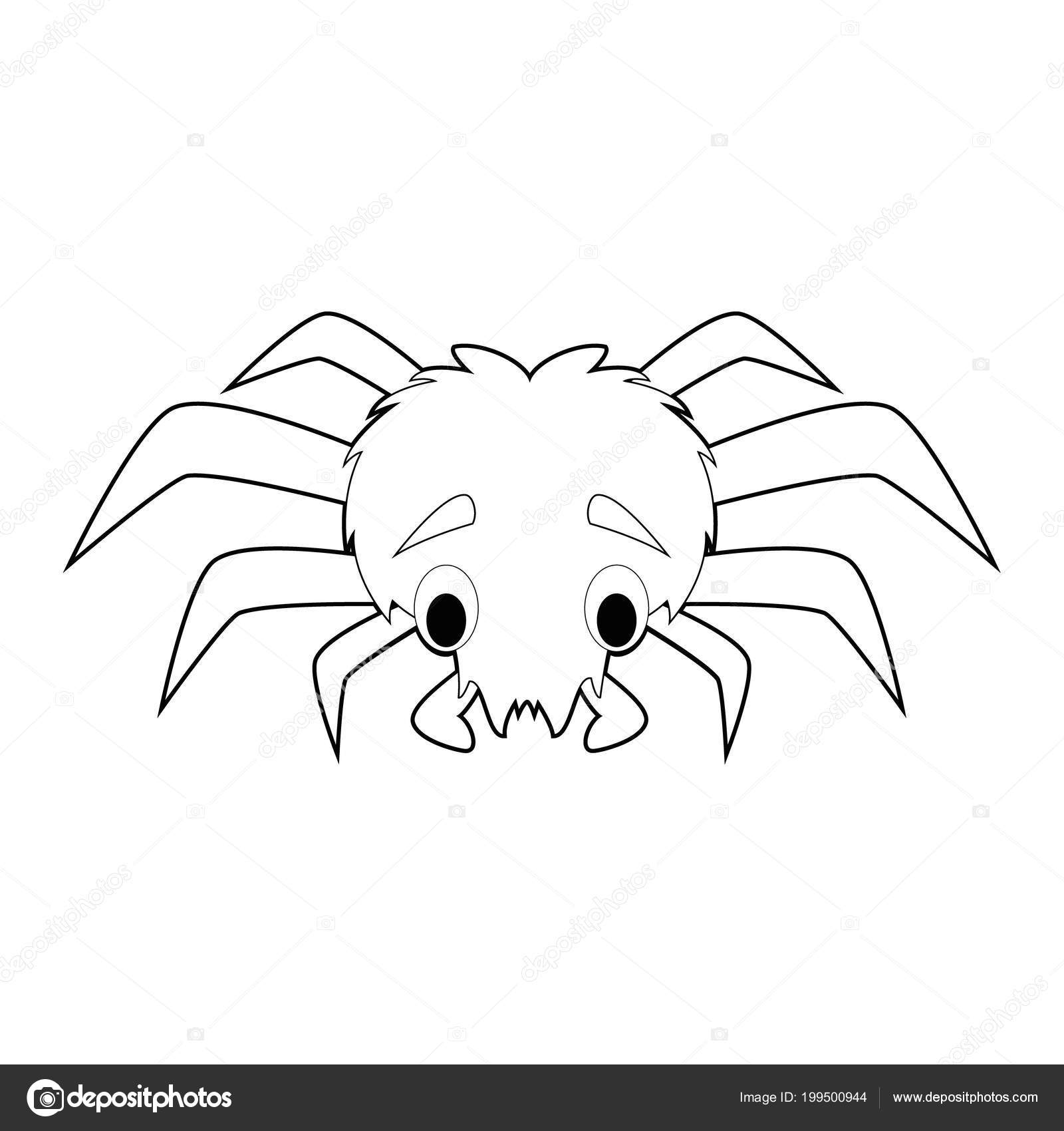 Fácil Para Colorear Dibujos Animales Para Niños Araña Vector De