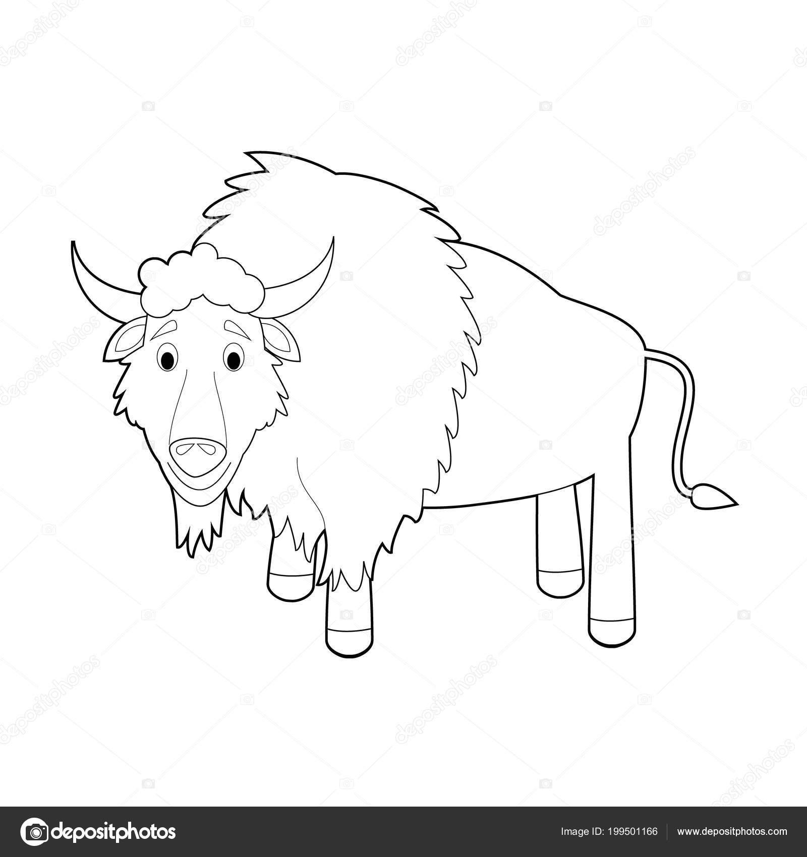 Kolay Hayvan çizimleri Küçük çocuklar Için Boyama Buffalo Stok