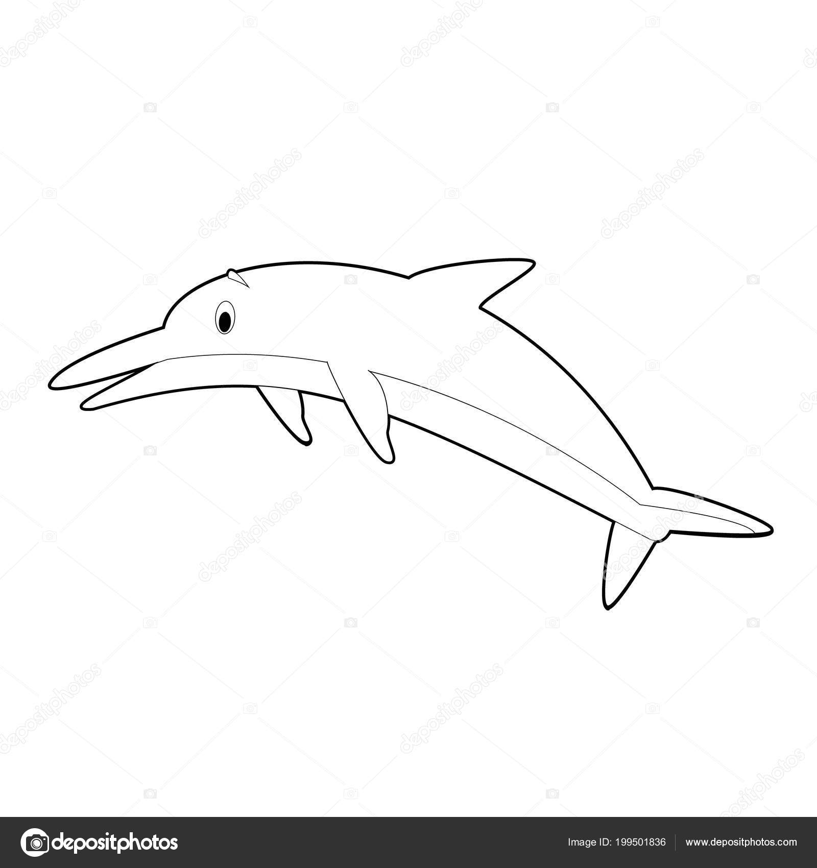 Easy Coloring Drawings Animals Little Kids Dolphin Stock Vector