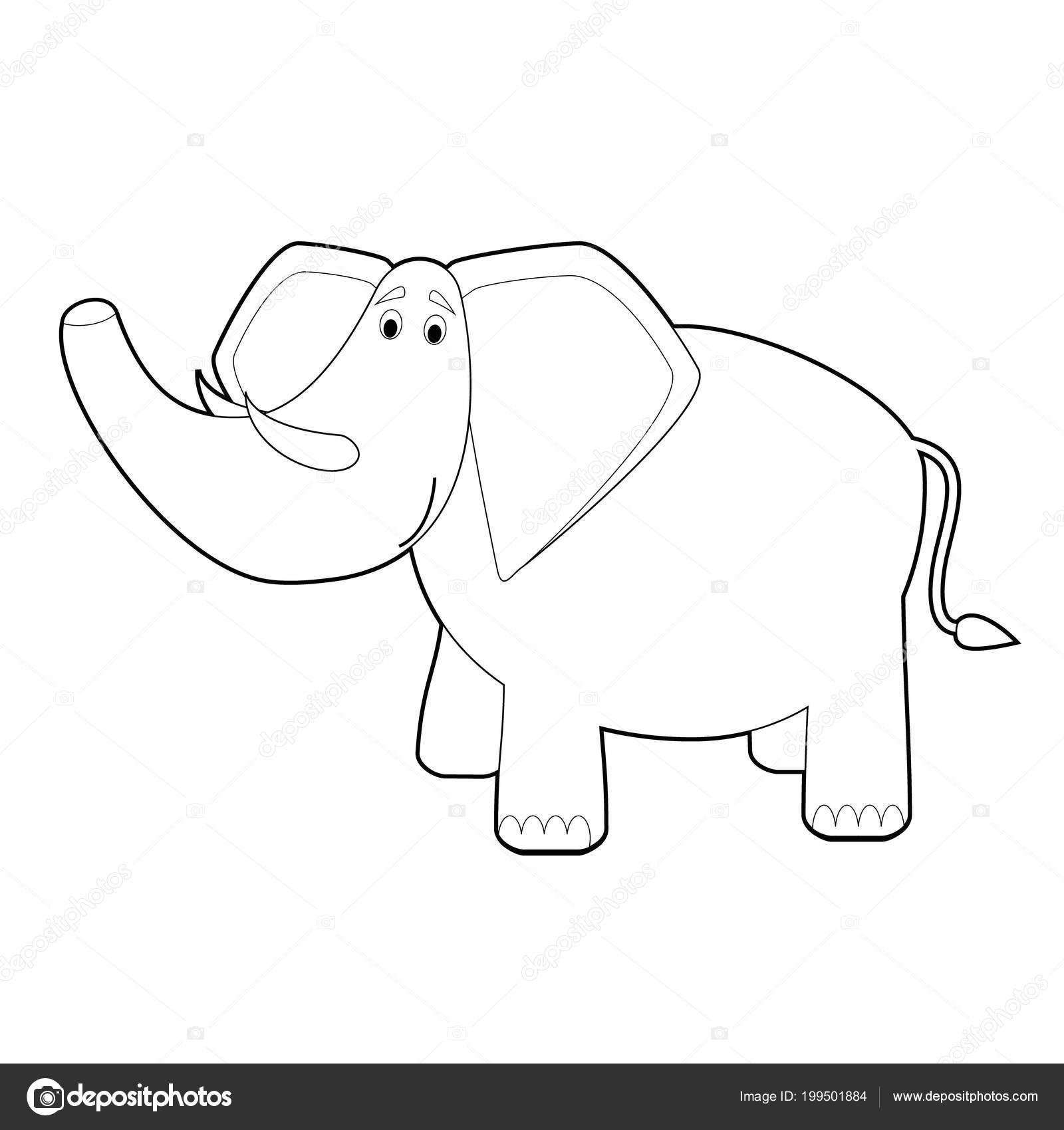 Facil Para Colorear Dibujos Animales Para Ninos Elefante Vector De