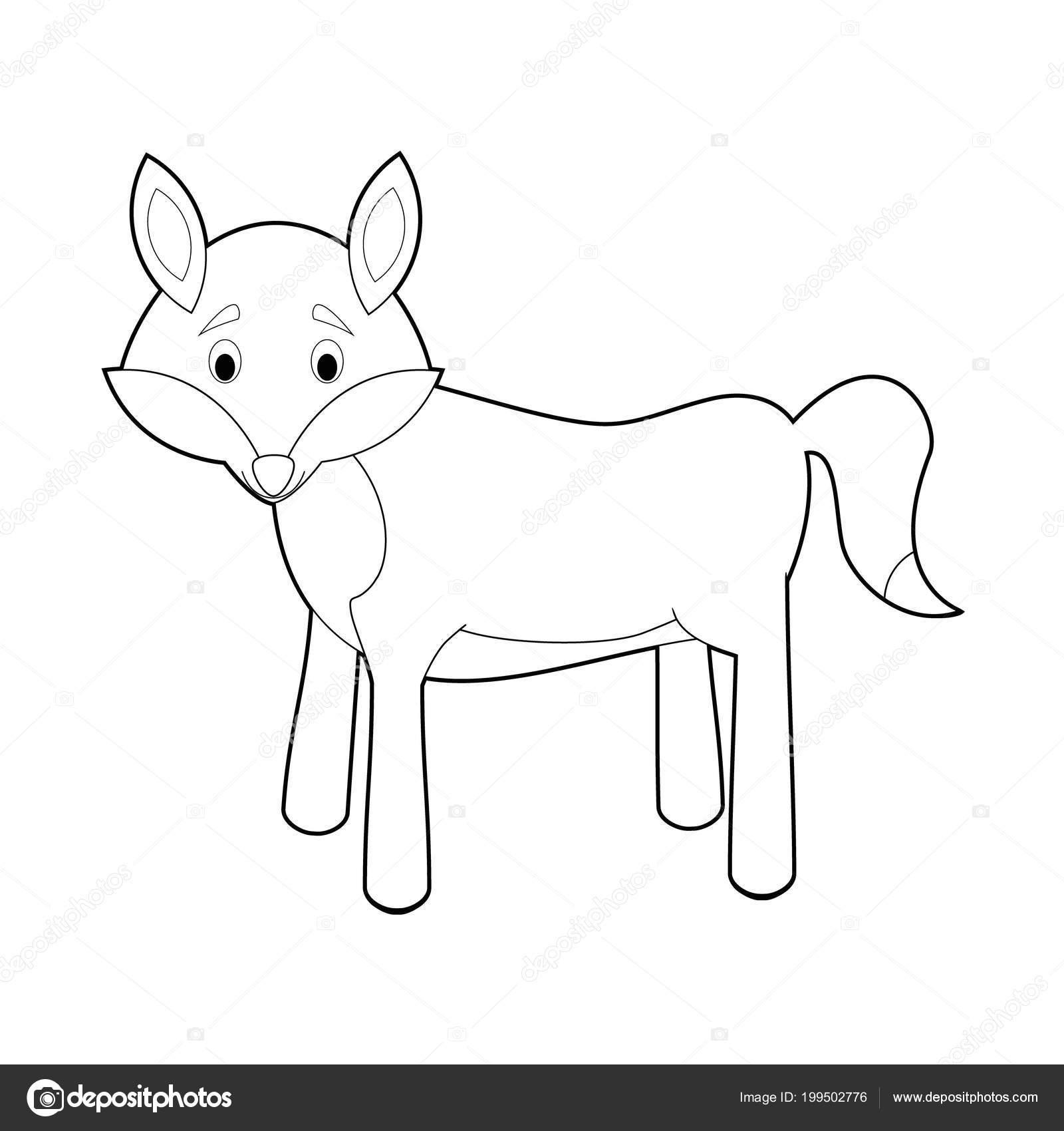 Kolay Hayvan çizimleri Küçük çocuklar Için Boyama Kurt Stok Vektör