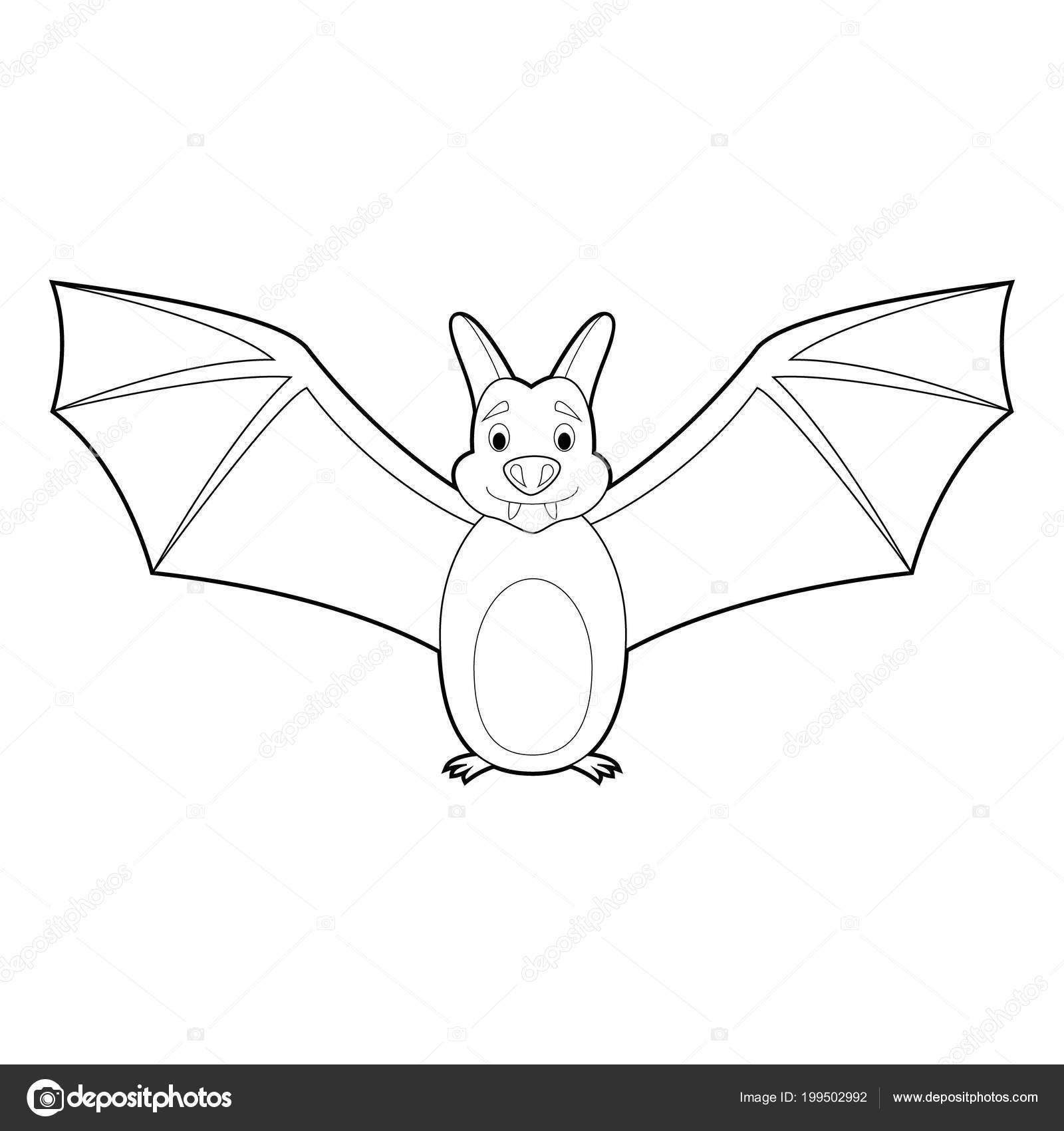Kolay Hayvan çizimleri Küçük çocuklar Için Boyama Yarasa Stok