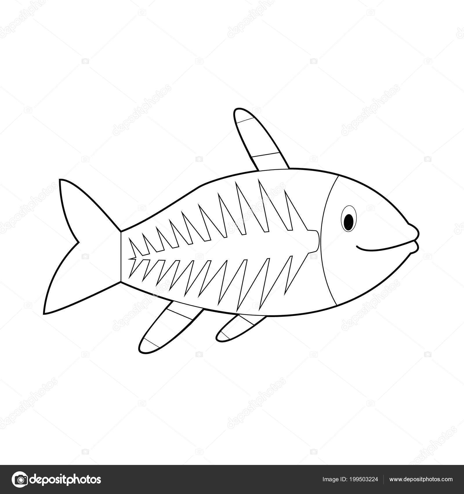 Easy coloring drawings animals little kids ray fish stock vector