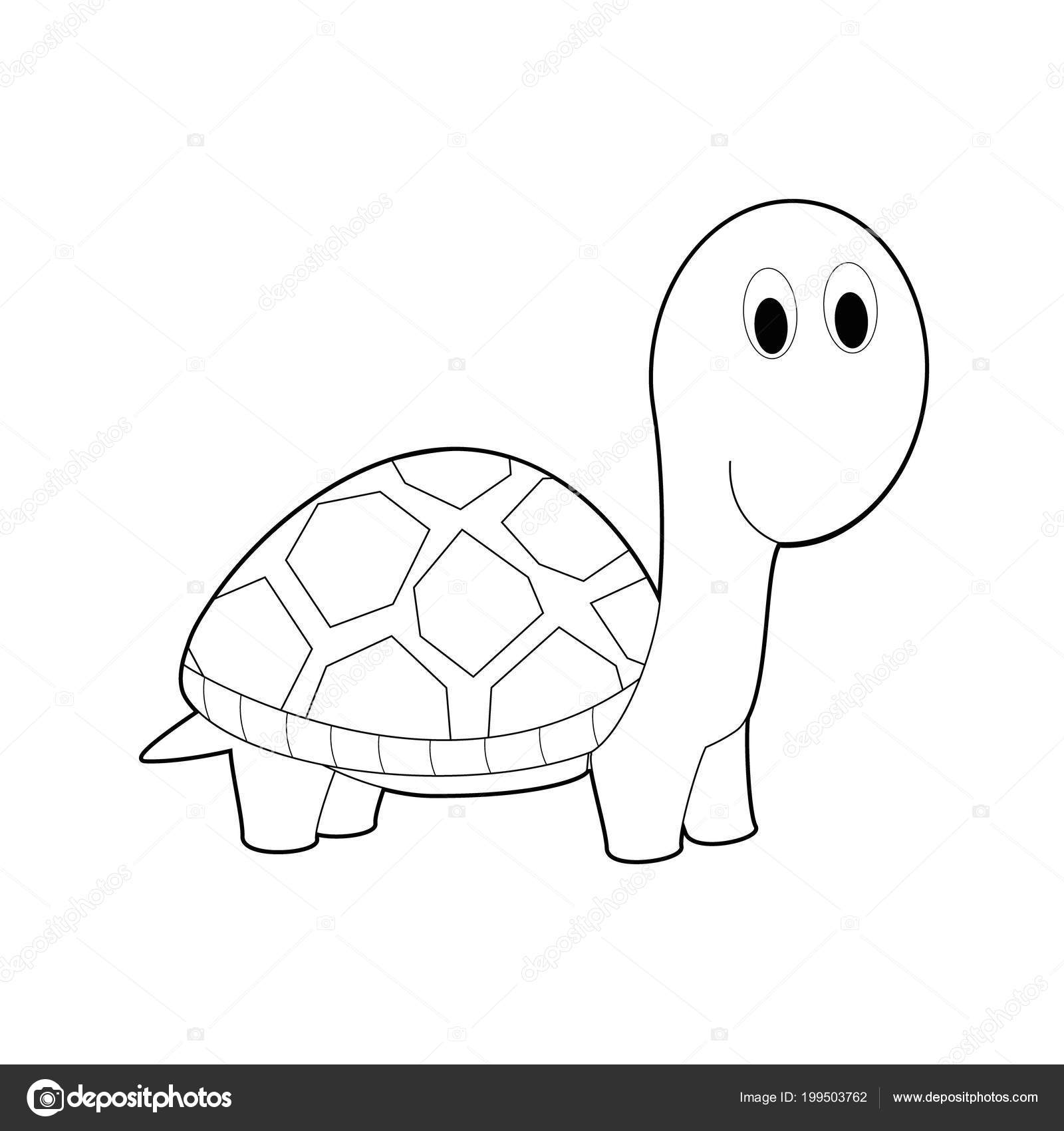 Easy Coloring Drawings Animals Little Kids Turtle Stock Vector