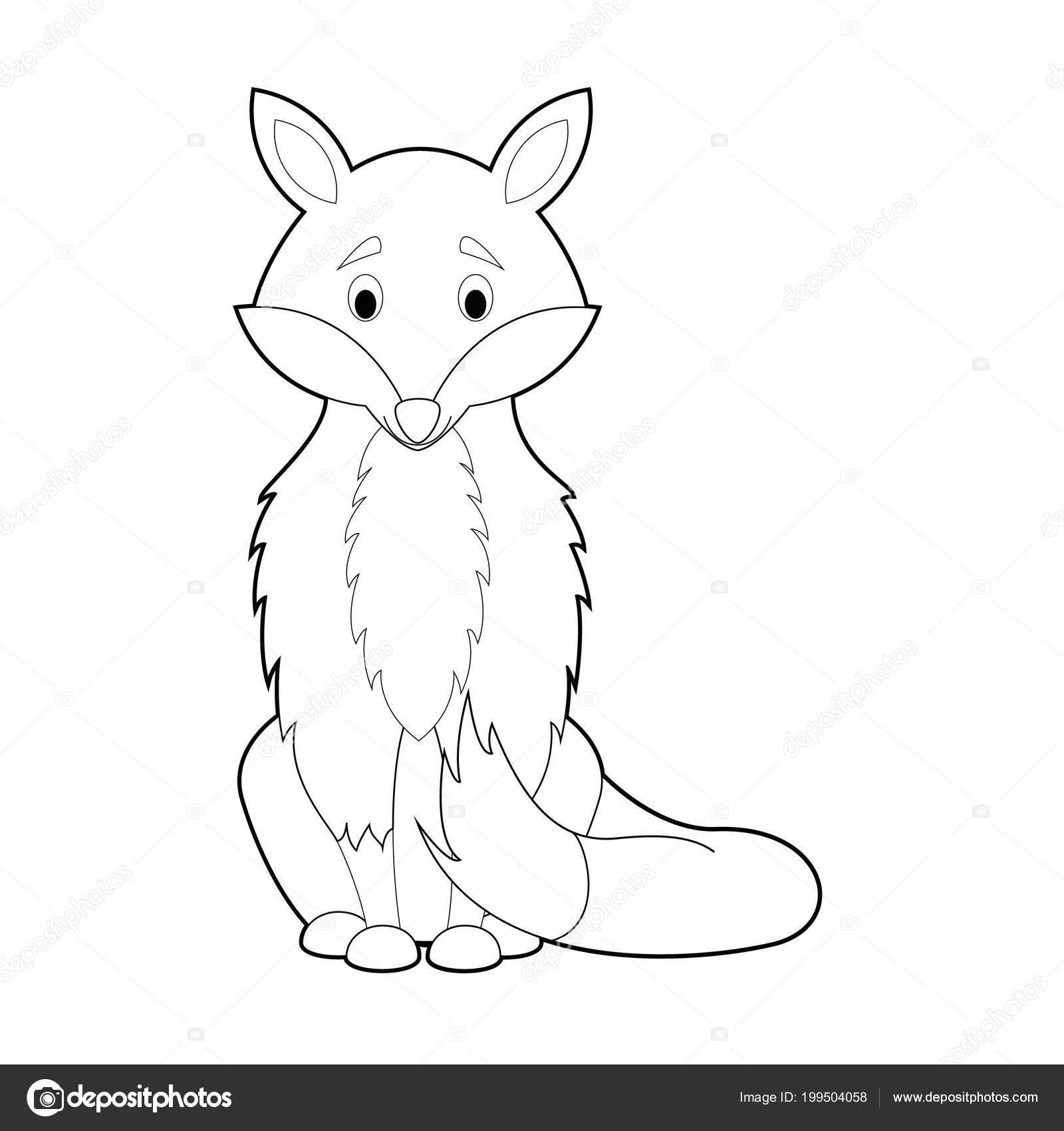 Kolay Hayvan çizimleri Küçük çocuklar Için Boyama Fox Stok Vektör