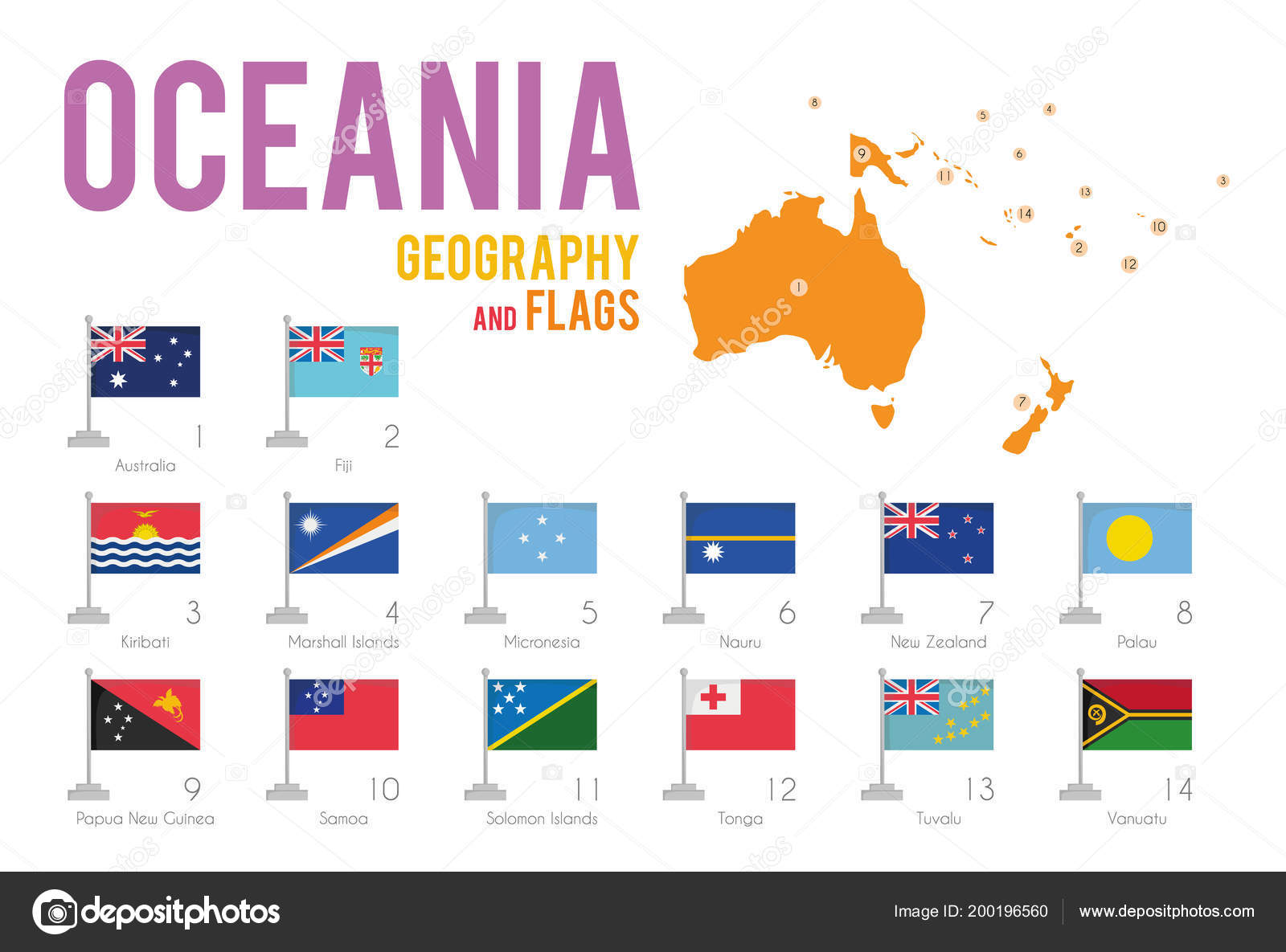 Set Flags Oceania Isolated White Background Map Oceania Countries Situated Stock Vector C Asantosg 200196560