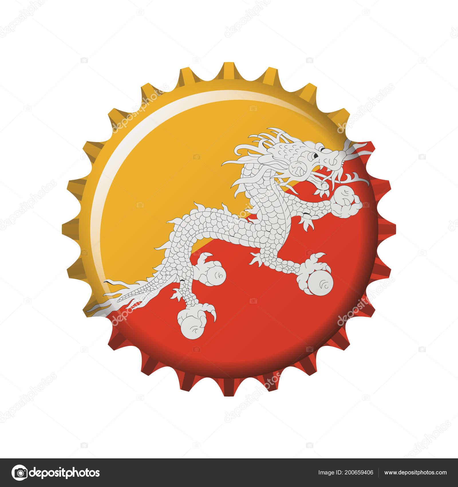National Flag Bhutan Bottle Cap Vector Illustration — Stock