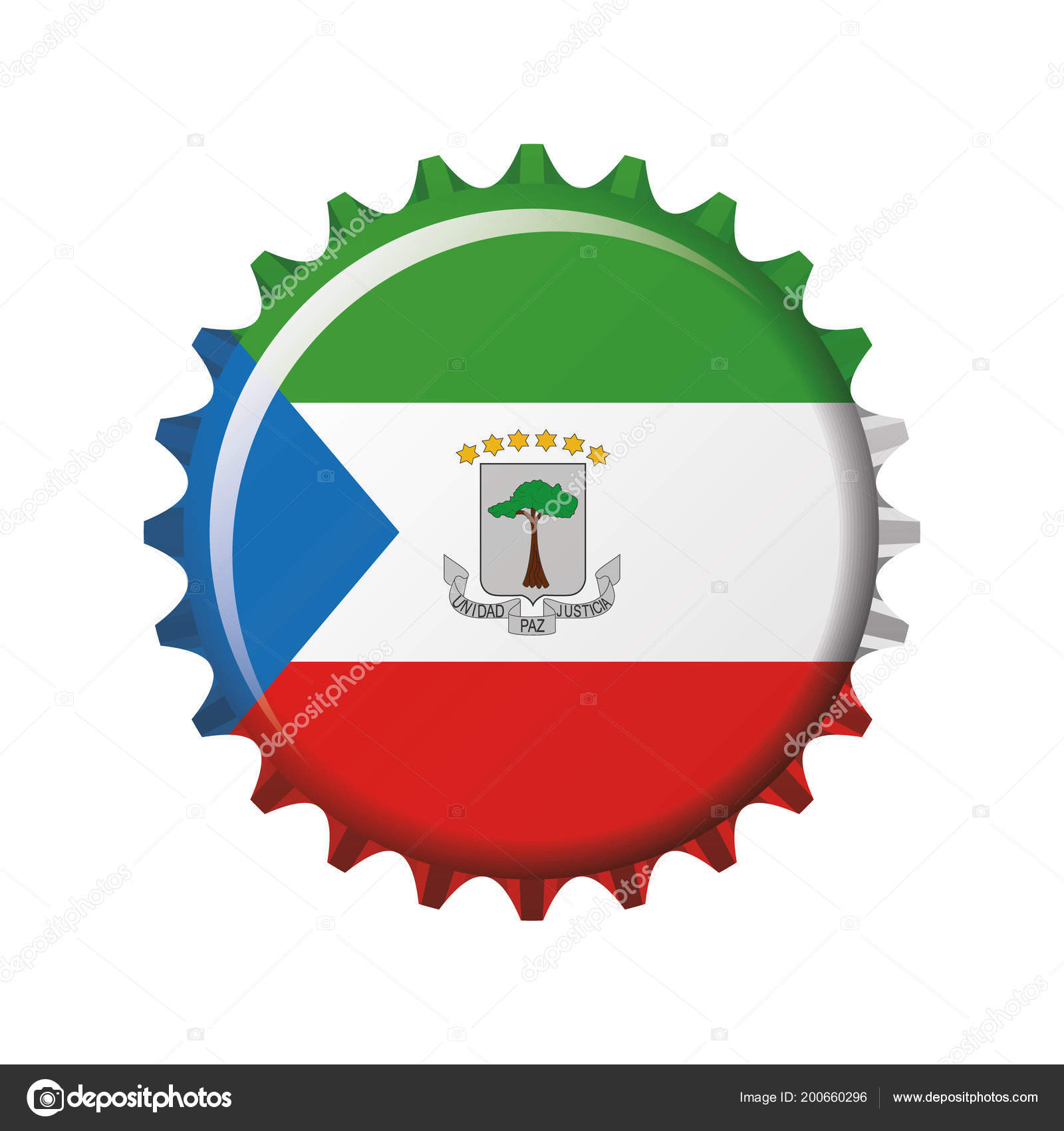 National Flag Equatorial Guinea Bottle Cap Vector