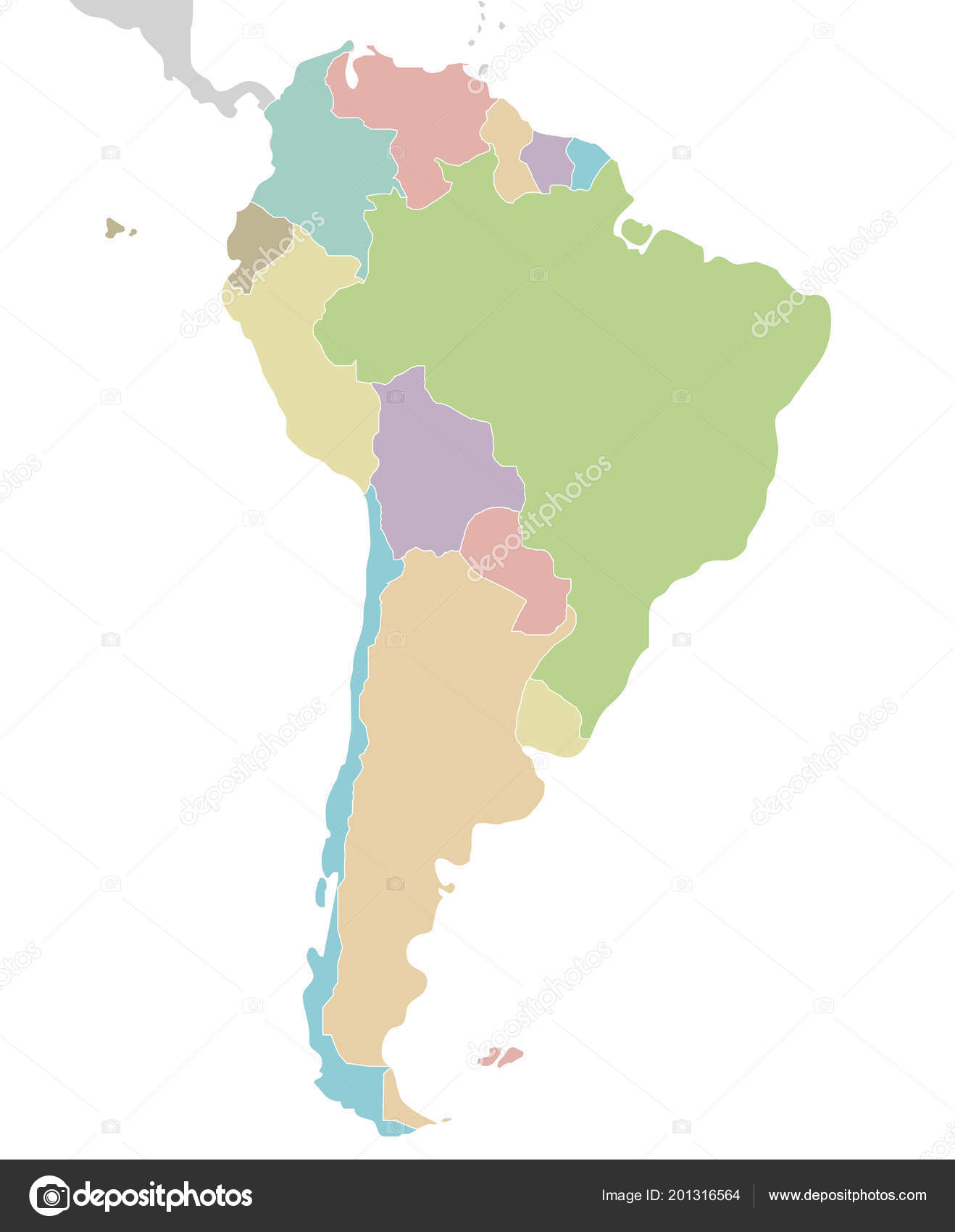 Political South American Map.Political Blank South America Map Vector Illustration Isolated White