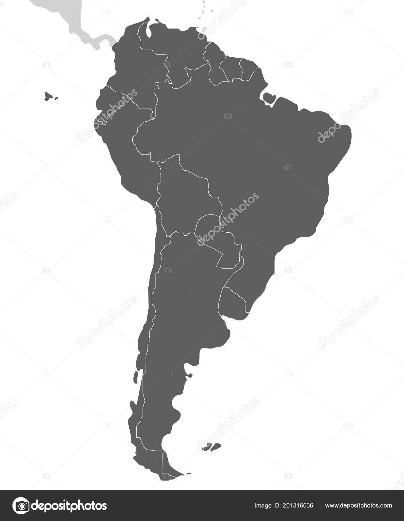 Political Blank South America Map Vector Illustration Isolated White