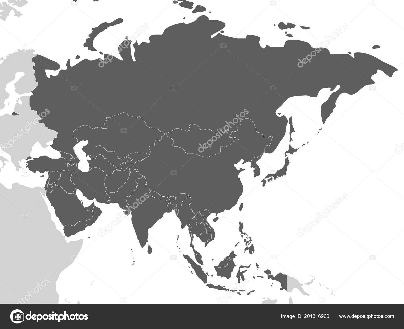 Political Blank Asia Map Vector Illustration Isolated White ...