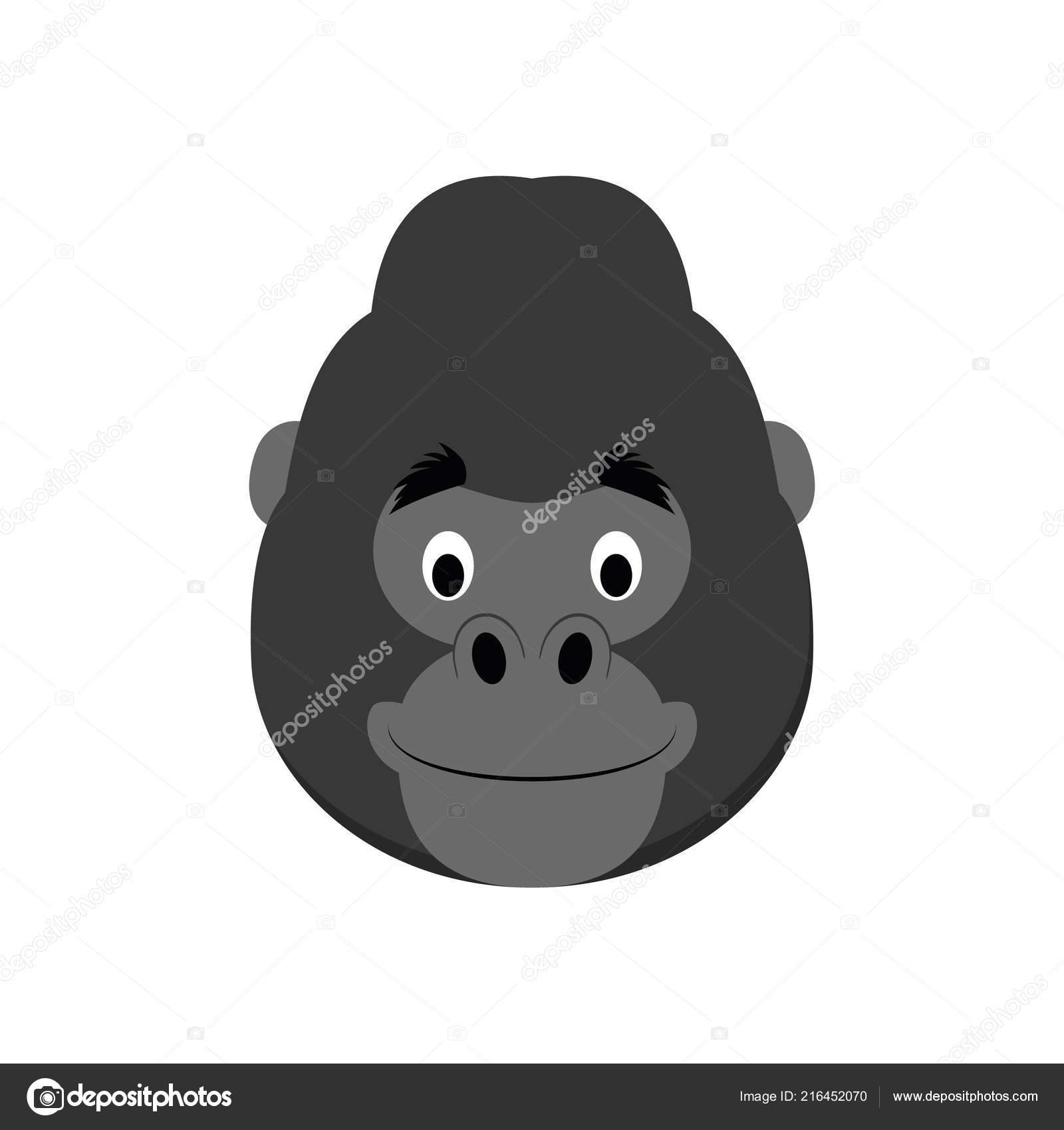 9a283187d Gorilla Face Cartoon Style Children Animal Faces Vector Illustration Series  — Stock Vector