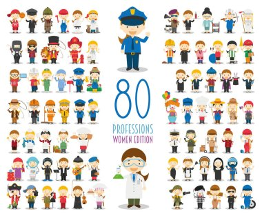 Kids Vector Characters Collection: Set of 80 different professions in cartoon style. Women Edition.