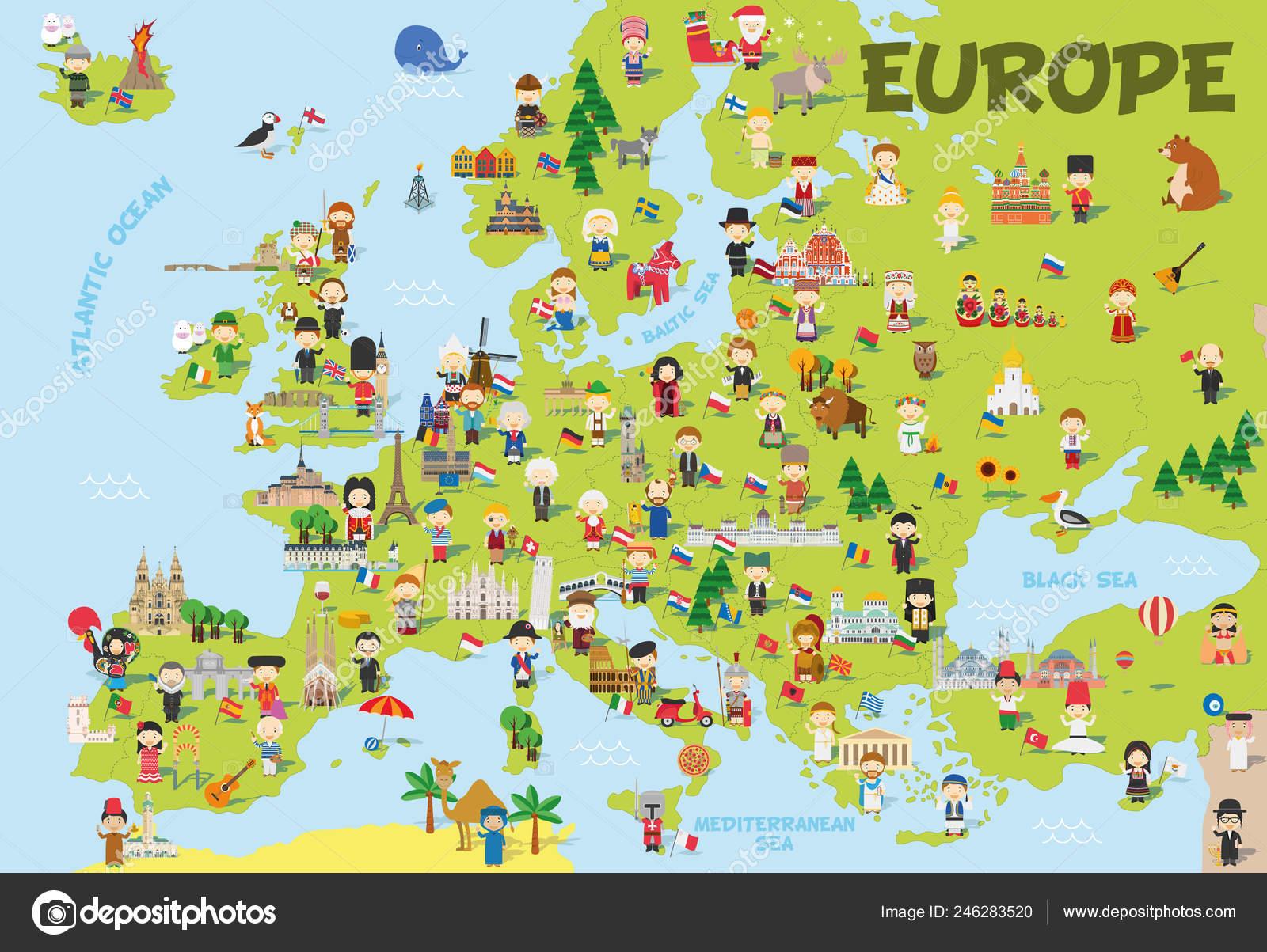Dibujos De NiÑos Por Nacionalidades: Mapa De Divertidos Dibujos Animados De Europa Con Niños