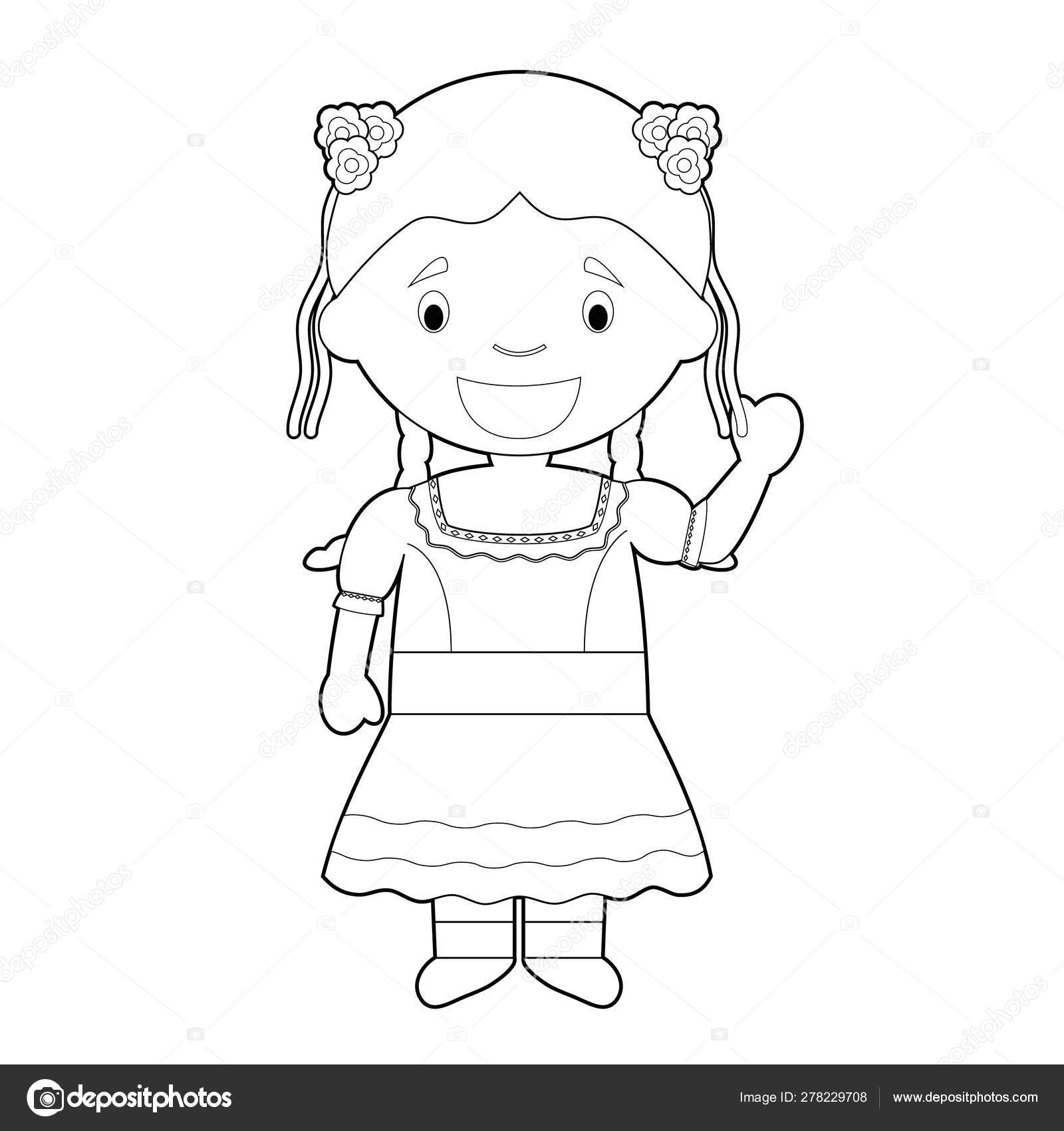 Personaje Dibujos Animados Para Colorear Fácil Chile Vestido