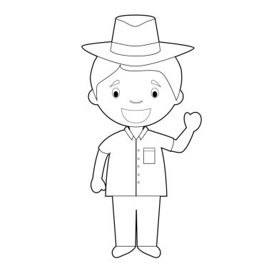 Easy coloring cartoon character from Cuba dressed in the traditional way with a Panama hat. Vector Illustration.
