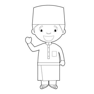 Easy coloring cartoon character from Malaysia dressed in the traditional way Vector Illustration.
