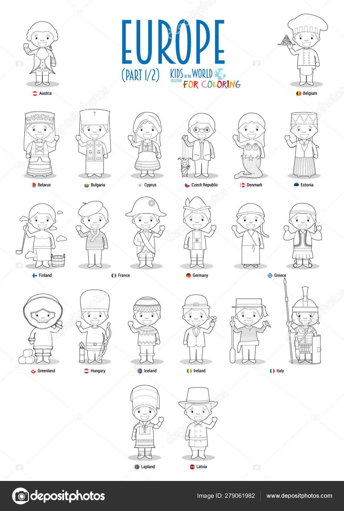 Niños Nacionalidades Del Vector Mundial Europa Set Conjunto
