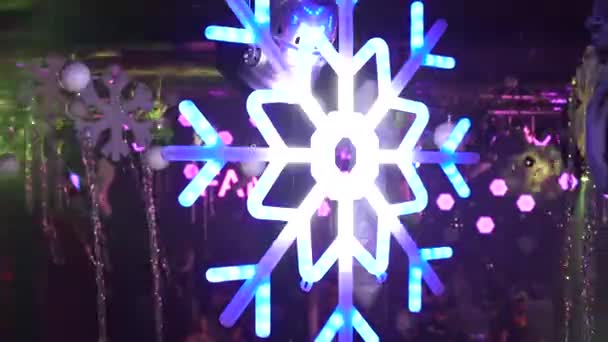 Luminous New Year Decorations Outdoors. Winter New Year Street Decorations Snowflake