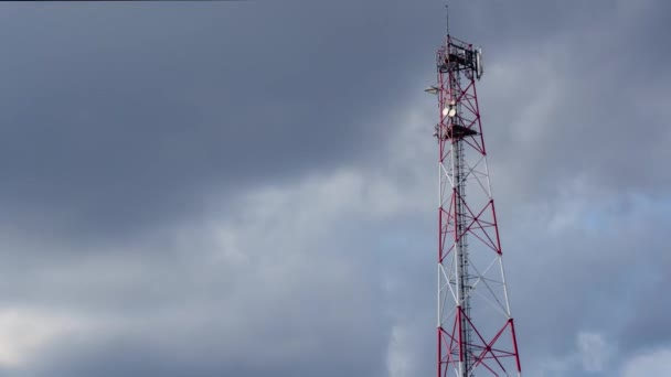 Communications Tower Timelapse With Sky And Cloud Background. Antenna. 4K Time Lapse : Telecommunications Antenna With Cloud And Blue Sky