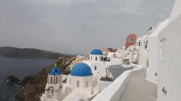 View of the Greek Orthodox Blue Dome Church in Oia.