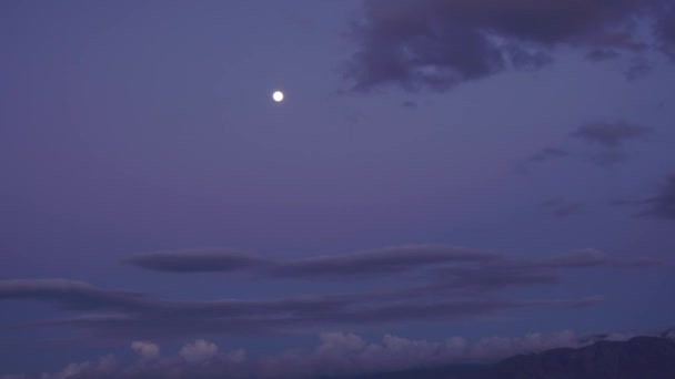 Full Moon Night Landscape With Forest Lake. The Bright Moon On The Background Of The Mountain. Wide Angle. Time Lapse