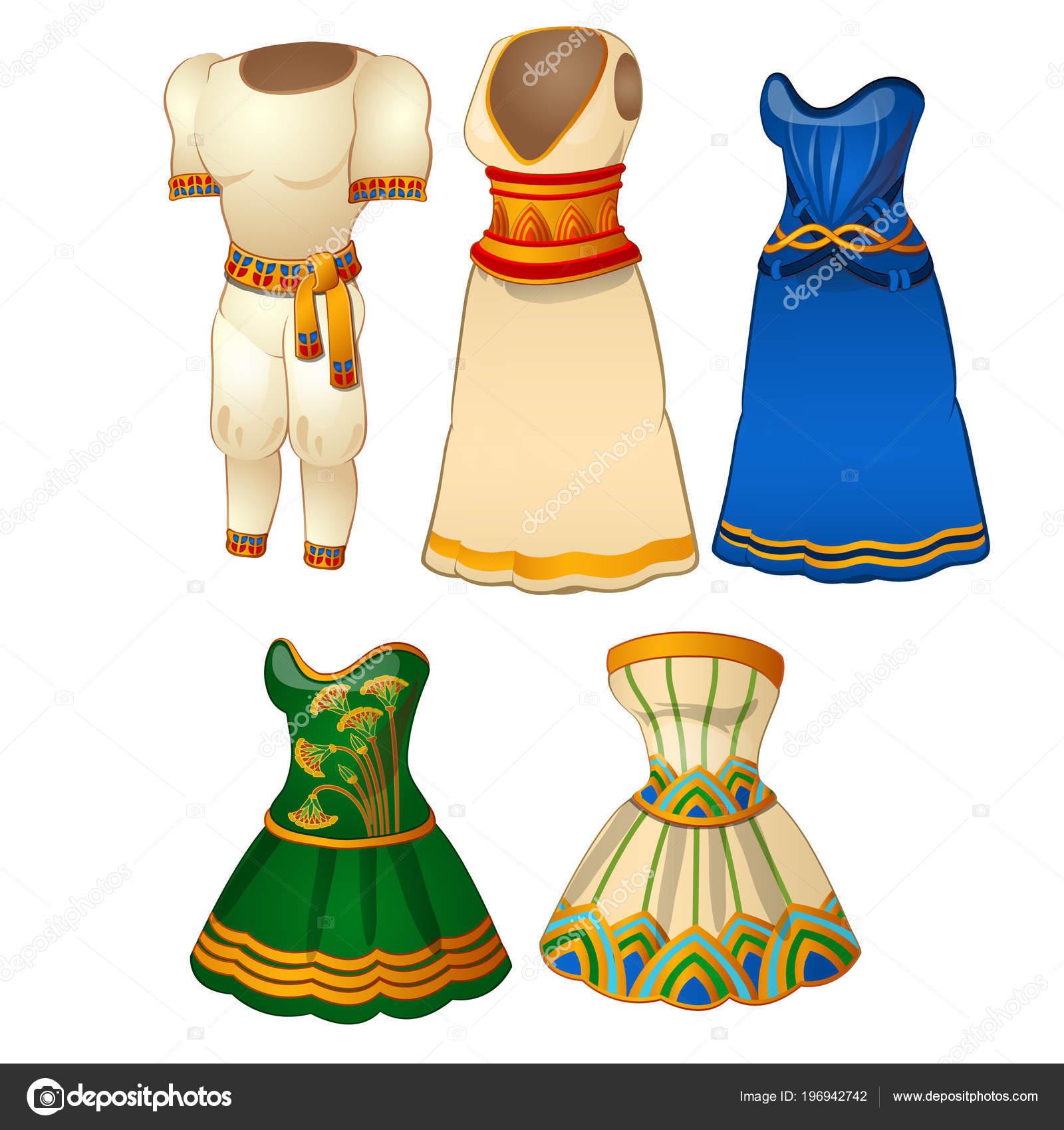 2c57859336f0 Sada Pánské a dámské oblečení ve stylu starověkého Egypta — Vektor od ...